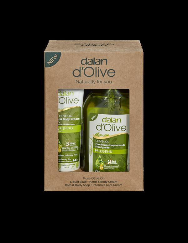 Zestaw produktów dalan d'olive krem do rąk i ciała i żel pod prysznic z oliwy z oliwek