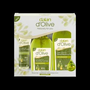 Zestaw produktów dalan d'olive krem do ciała, mydło i żel pod prysznic z oliwy z oliwek